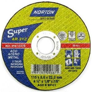 "Disco de corte ferro 4.1/2"" x 1/8"" x 7/8"" AR 312 - Norton"