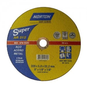 "Disco de corte ferro 9"" x 1/8"" x 7/8 "" AR 312 - Norton"
