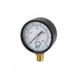 Manômetro para gás acetileno vertical 02,5Kg
