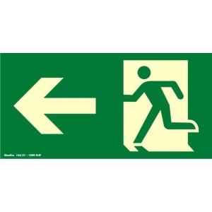 """Placa sinalização rota de fuga PVC 315AB """"Saída de emergência seta para esquerda"""""""