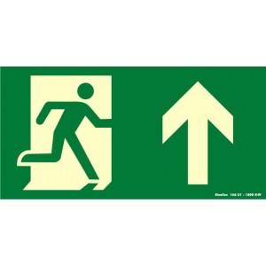 """Placa sinalização rota de fuga PVC 315AC """"Saída de emergência seta para cima"""""""